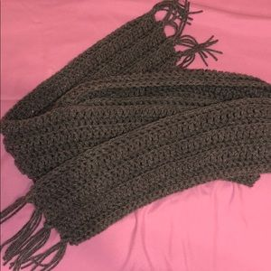 Grey Scarf with fringed ends